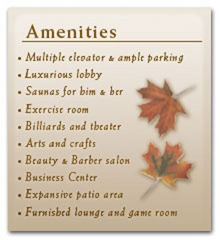 Amenities, Senior Living Apartments in Fort Washington, MD